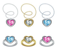 Jewelry. Hearts, pendant and ring vector illustration