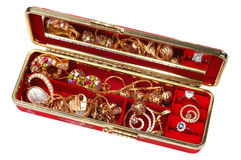 Jewelry. Red box with gold jewery, CLIPPING PATCH Stock Photo