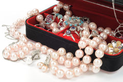 Jewelry. Platinum and pearl jewelry in open box, close up Stock Images