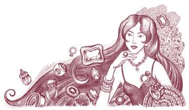 Jewelry. Hand drawn illustration of young woman with jewelry Royalty Free Stock Photo