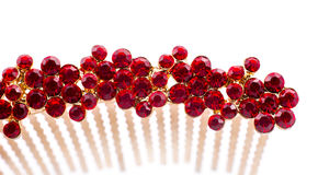 Jewelry. Hairgrip with red stones isolated on white Royalty Free Stock Photography