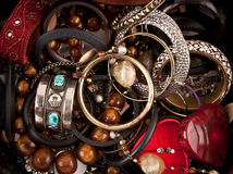 Jewelry. Close up box with different types of jewelry royalty free stock image