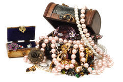 Jewelry and accessoreis. Jewelry wooden box full of gold and accessoreis Stock Photo