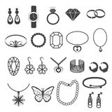 Jewelry Accessories and Gemstone Icons Set Stock Images