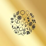 Jewelry accessories icons round concept Stock Photography