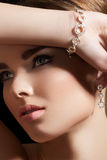 Jewelry accessories. Model with diamond bracelet Royalty Free Stock Photos