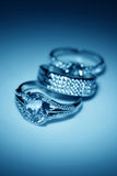 Jewelry accessories  rings in blue light Royalty Free Stock Image