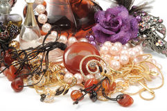 Jewelry and accessory. Perfumes, pearls and stomes necklace and hair accesoory Royalty Free Stock Photography