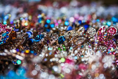 Jewelry. Jewelry for all tastes. Silver, white gold and gemstones Stock Images