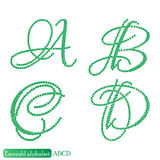 Jewelry alphabet from Emerald stones Stock Photography