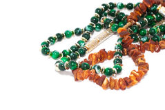 Jewelry with amber and emerald Stock Photo