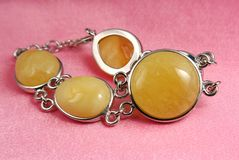 Jewelry amber bracelet Stock Images