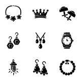 Jewelry articles icons set, simple style. Jewelry articles icons set. Simple set of 9 jewelry articles vector icons for web isolated on white background vector illustration