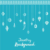 Jewelry Background With Hanging Diamonds Stock Photography
