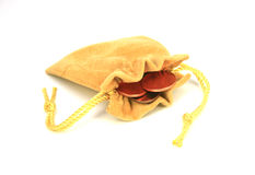 Jewelry bag and gold coins Stock Image