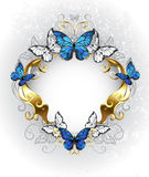 Jewelry banner with blue butterflies morpho Royalty Free Stock Photo