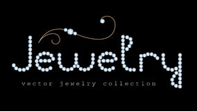 Jewelry banner with diamond jewelry letters. And gold jewellery swirly decoration on black Royalty Free Stock Photos