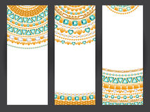 Jewelry banners. Golden chains with emeralds. Royalty Free Stock Image