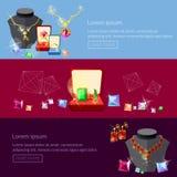 Jewelry banners jewels earrings rings gems pendants Stock Photo