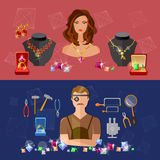 Jewelry banners sale precious stones jeweler in workplace Royalty Free Stock Photo