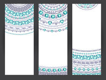 Jewelry banners. Silver chains with emeralds. Royalty Free Stock Photos