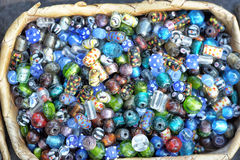 Jewelry beads. Closeup of colorful beads used in making beautiful indian jewelry Stock Images