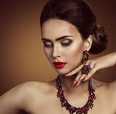 Jewelry, Beauty Fashion Model Face Jewellery, Ring Necklace Earrings. Jewelry, Beauty Fashion Model Face and Jewellery, Red Ring Necklace Earrings, Elegant Woman Royalty Free Stock Image
