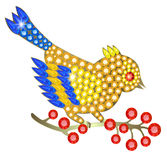 Jewelry birdie. Jewelry-birdie of gems sitting on a branch with fruits Stock Photography