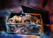 Jewelry box. Jewelry silver box at night Stock Images