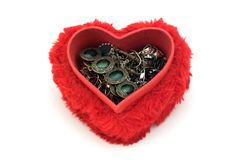 Jewelry box. Jewelries in a heart shaped box Royalty Free Stock Photo