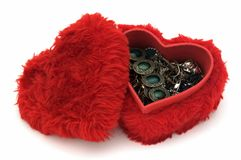 Jewelry box. Jewelries in a heart shaped box Stock Photography