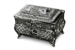 Jewelry Box. Antique silver jewelry box Isolated with a clipping path on white background Stock Photos