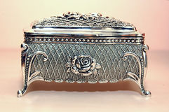 Jewelry box. Of bright silver Stock Photography