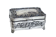 Jewelry box. Silver jewelry box - vintage object isolated on white background Stock Photo
