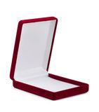 Jewelry box. Red empty velvet jewelry box isolated on white Royalty Free Stock Images