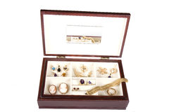 Jewelry Box. A jewelry box draped with jewels and gold Stock Image
