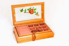 Jewelry box and amber necklace Royalty Free Stock Images