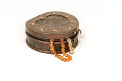 Jewelry box and amber necklace Royalty Free Stock Image