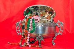 Jewelry box with beads jewelry Royalty Free Stock Photography