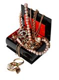 Jewelry box with beads, pearls and jewellery isolated on white background. Stock Image