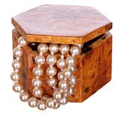 Jewelry box with beads, pearls and jewellery isolated on white background. Stock Photography