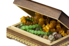 Jewelry box with beads Stock Images