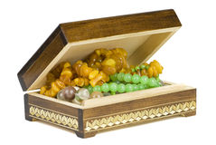Jewelry box with beads Royalty Free Stock Photo