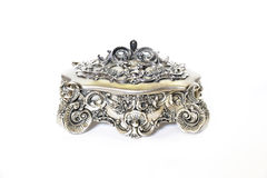 Jewelry box. A beautiful and decorate jewelry box made of silver Stock Photography