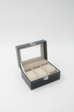 jewelry box or black leather jewelery box on background. Royalty Free Stock Images