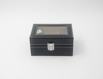 jewelry box or black leather jewelery box on background. Royalty Free Stock Photos