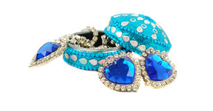 Jewelry box with blue hearts. Stock Photography