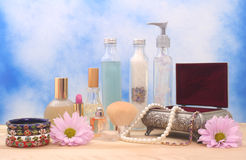Jewelry Box and Cosmetics Stock Photo