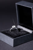 Jewelry box with elegant silver ring Stock Photos