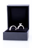 Jewelry box with elegant silver ring Stock Images